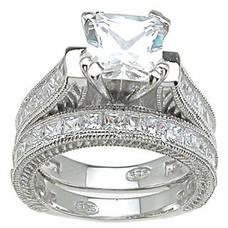 Plutus Sterling-Silver Princess-Cut Cubic Zirconia Antique Bridal-Style Ring Set