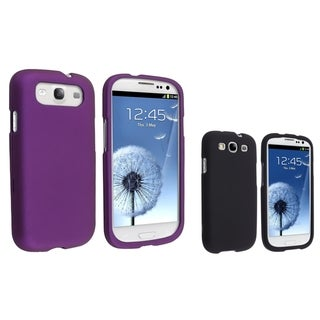 BasAcc Black/ Purple Rubber Coated Cases for Samsung Galaxy S III/ S3