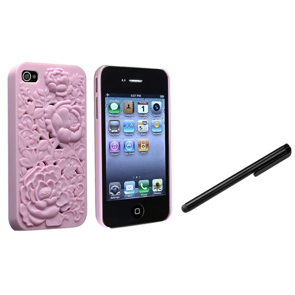 INSTEN Pink 3D Rose Phone Case Cover/ Black Stylus for Apple iPhone 4/ 4S