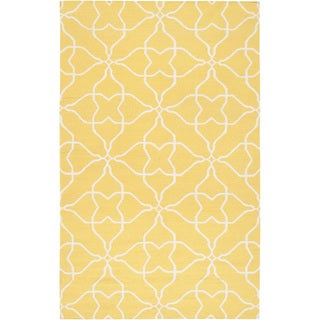 Hand-woven Canary Geo Sunshine Yellow Wool Rug (8' x 11')