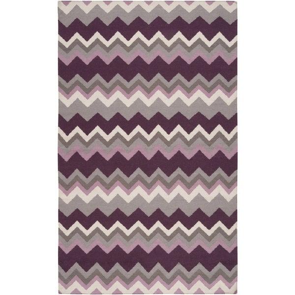 Handwoven Wine Chevron Prune Purple Wool Rug (2' x 3')