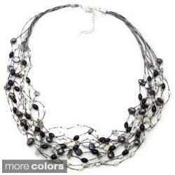 Braided Silk Freshwater Pearls Multi Strand Necklace (Thailand)