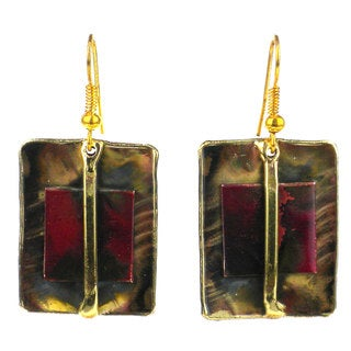 Handcrafted Square on Square Copper and Brass Earrings (South Africa)