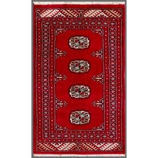 Pakistani Hand-knotted Bokhara Red/ Ivory Wool Rug (1'11 x 3'2)