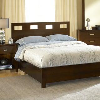 Chocolate Brown Rectangular Cutout Modern Platform Bed