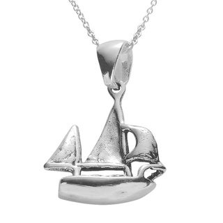 Journee Collection Sterling Silver Boat Necklace