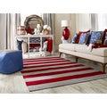Hand-woven Ruby Stripe Carmine Wool Rug (5' x 8')
