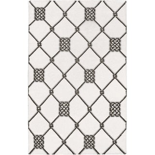 Hand-woven Surrey White Wool Rug (9' x 13')
