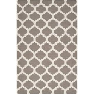 Hand-woven Kamloops Grey Wool Rug (9' x 13')