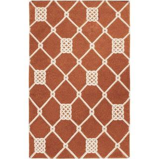 Handwoven Trail Orange Wool Rug (9' x 13')