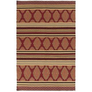 Hand-woven RubyGeoMix Redwood Wool Rug (8' x 11')
