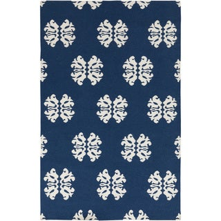 Hand-woven Stencil Navy Blue Wool Rug (9' x 13')