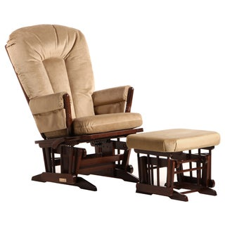 Dutailier Ultramotion Coffee/ Light Brown Multi-position, Recline 2-post Glider and Nursing Ottoman Set