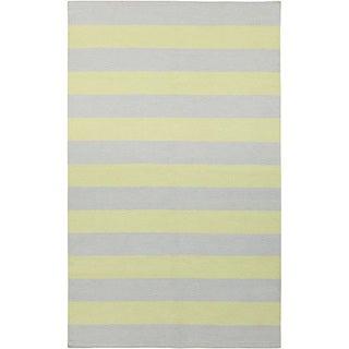 Handwoven ChartruseStripe YellowGreen Wool Rug (9' x 13')