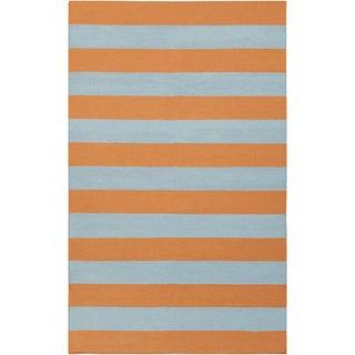 Handwoven TangerineStripe Pumpkin Wool Rug (9' x 13')