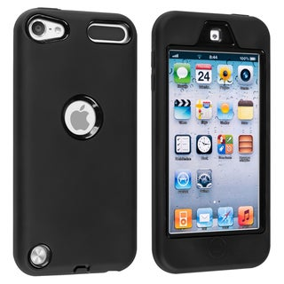 Insten Black Soft Silicone/ PC Dual Layer Hybrid Rubber Case Cover For Apple iPod Touch 5th/ 6th Gen