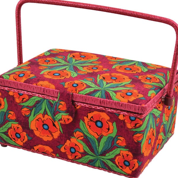 """Floral-Pattern Rectangle Sewing Basket - 12-1/2"""" X 9-1/2"""" X 6-3/4"""""""
