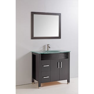 Tempered Glass Top 36-inch Single Sink Bathroom Vanity with Mirror and Faucet