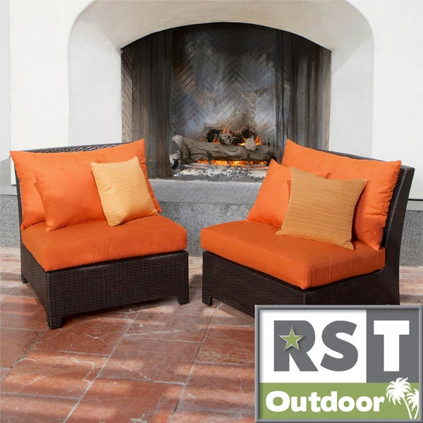 RST Outdoor Tikka Patio Furniture Armless Chairs (Set of 2)