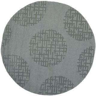 Handmade Circ Grey New Zealand Wool Rug (5' Round)
