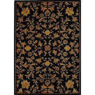 Safavieh Handmade Metro Garden Scrolls Black New Zealand Wool Rug (9' x 12')