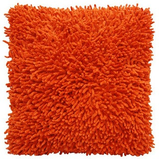 Orange Shagadelic Chenille 18-inch Double Sided Decorative Pillow