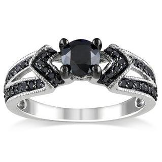 Miadora Sterling Silver 1ct TDW Black Diamond V-accent Ring
