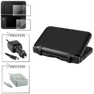 INSTEN Black Case Cover/ Screen Protector/ Chargers for Nintendo 3DS XL