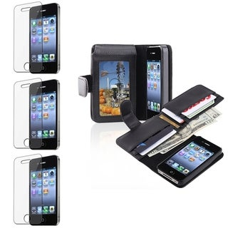INSTEN Leather Phone Case Cover/ Screen Protector for Apple iPhone 4/ 4S