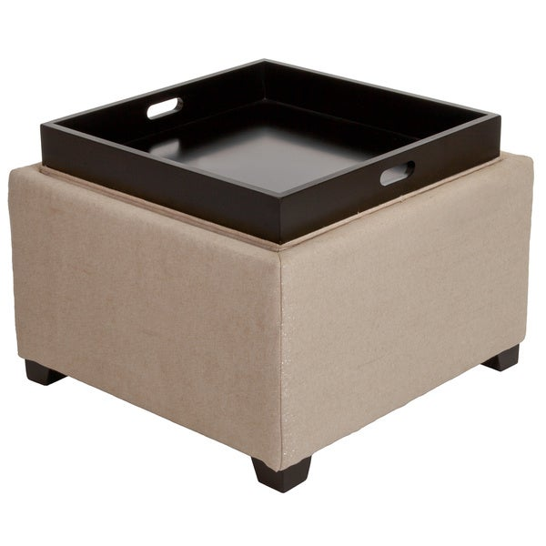 Christopher Knight Home Andrea Light Tan Fabric Tray Top Storage Ottoman