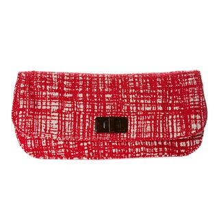 Prada Women's Red and White Tweed Clutch with Leather Interior