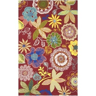 Safavieh Four Seasons Stain Resistant Hand-hooked Red Rug (5' x 8')