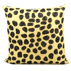 Mina Victory Luminecence Beaded Leopard 20 x 20-inch Decorative Pillow by Nourison