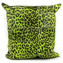 Mina Victory Green Leopard Print Natural Leather Hide 20 x 20-inch Pillow by Nourison