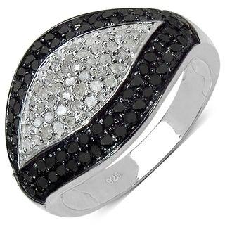Malaika Sterling Silver 3/5ct TDW White and Black Diamond Ring (I-J, I3)