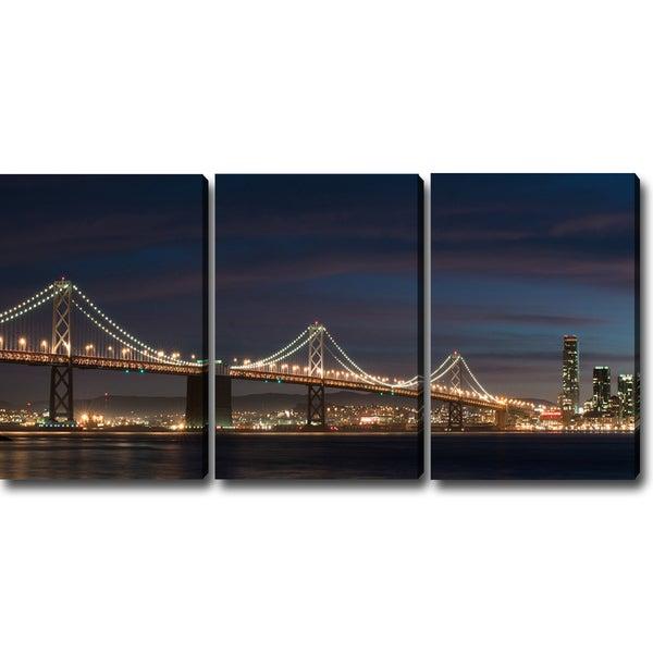 'A Night at the San Francisco Bay Bridge' Canvas Art (Set of 3)