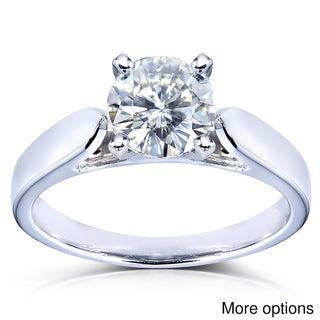 Annello 14k White Gold Round Moissanite Solitaire Ring