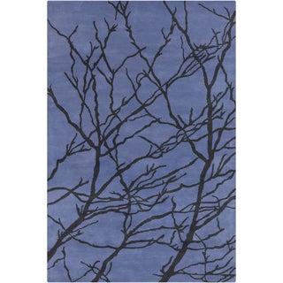 Handmade Allie Floral Blue/ Black Wool Rug (5' x 7'6)