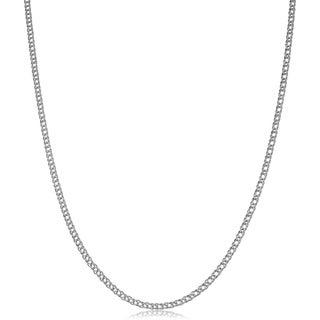 Fremada 14k White Gold 2-mm Diamond Weave Chain