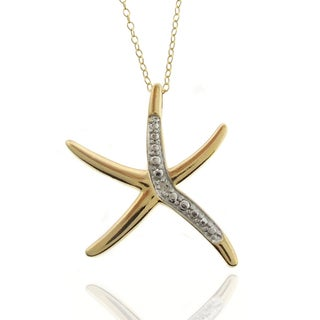 Finesque 18k Gold Overlay Diamond Accent Starfish Necklace with Red Bow Gift Box