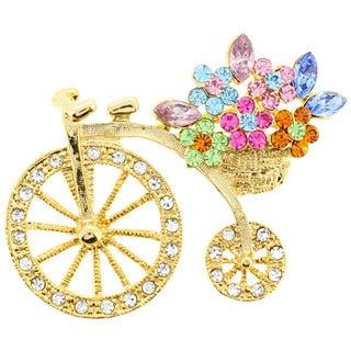 Goldtone Multi-crystal Crystal Bicycle with Flower Basket Pin