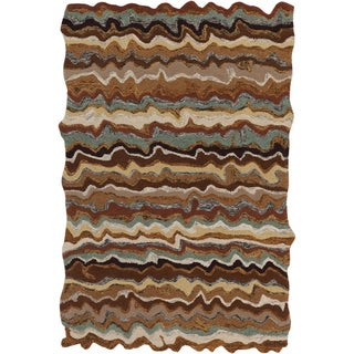 Hand-tufted Fayston Brown Novelty Wool Rug (5' x 8')