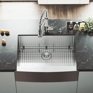 VIGO 30-inch Farmhouse Stainless Steel Kitchen Sink, Grid and Strainer