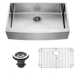 VIGO 36-inch Farmhouse Stainless Steel Kitchen Sink, Grid and Strainer