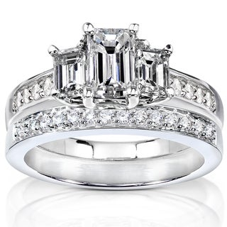 Annello 14k Gold 1 1/2ct TDW Emerald Cut Diamond Bridal Set (H-I, SI1-SI2) with Bonus Item