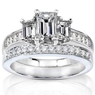 Annello 14k Gold 1 1/2ct TDW Emerald Cut Diamond Bridal Set (H-I, SI1-SI2)