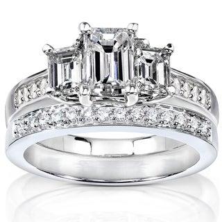 Annello 14k Gold 1 7/8ct TDW Emerald Cut Diamond Bridal Set (H-I, SI1-SI2)