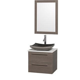 Wyndham Collection 'Amare' 24-inch Grey Oak/ White Top/ Granite Sink Vanity Set