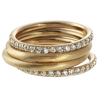 Journee Collection 18K Goldplated Sterling Silver Cubic Zirconia 4-piece Ring Set