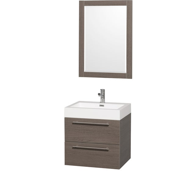 Wyndham Collection 'Amare' 24-inch Grey Oak/ White Acrylic Resin Sink Vanity Set